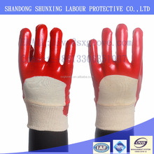 PVC glove with double dipped knit wrist