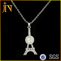 EN0376 JN classic Eiffel Tower Pendant clock Necklace Golden Plated Chain Fashion Jewelry