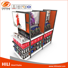 Store fixture cell phone accessory headset display rack double sides floor display stand