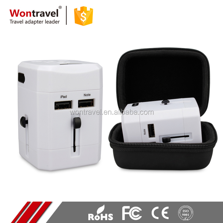 Worldwide All International Standard Travel Adapter And Charger AC Power Plug with 2 USB Port 2.1A For USA UK EU AUS