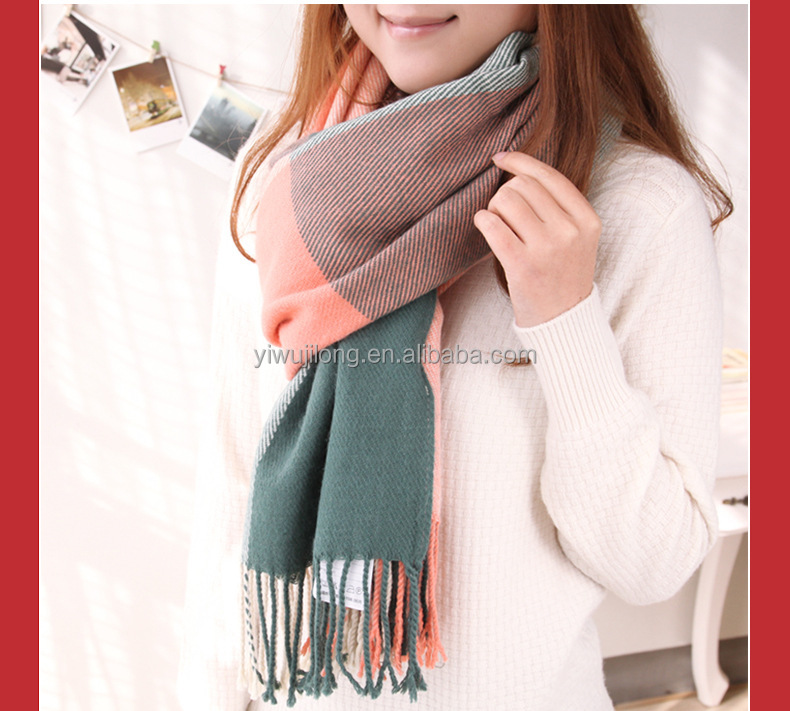 High quality top ending fashionable lady big cross print cashmere scarf kniting scarf