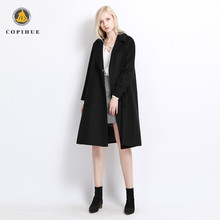 New look black germany long hair goat fur polyester coats