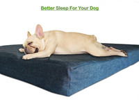 Soft-cooling denim fabric memory foam dog bed