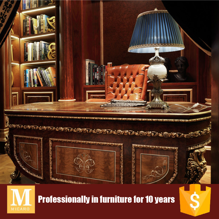 luxury design antique wooden study room furniture with bookcase and writing desk and office chair