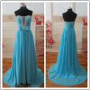 Blue Chiffon Ruffled Sweetheart Customized Prom Party Evening Dresses Vestidos PD034 real sample pictures dresses