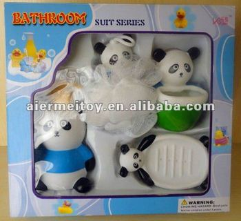 Promotional Custom bathroom sets plastic panda bath toy
