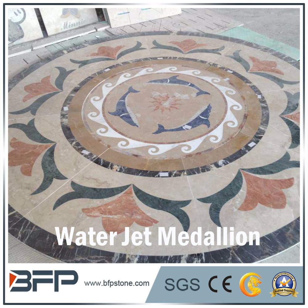 Beautiful,new style marble for floor,waterjet marble tiles design, flower pattern medallion