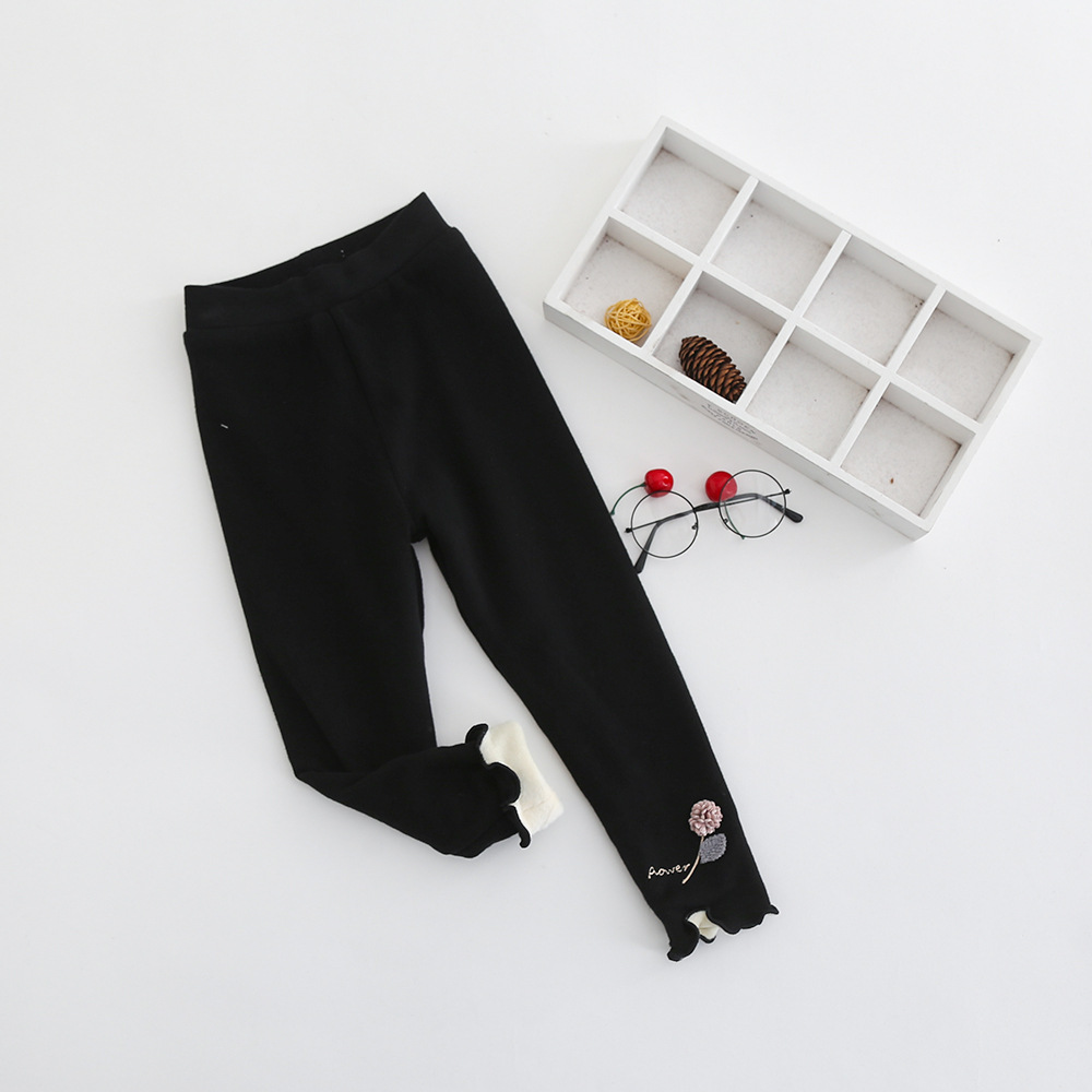 S52183A   New Baby Girls Flower Embroidery Cute Kids Leggings Pants