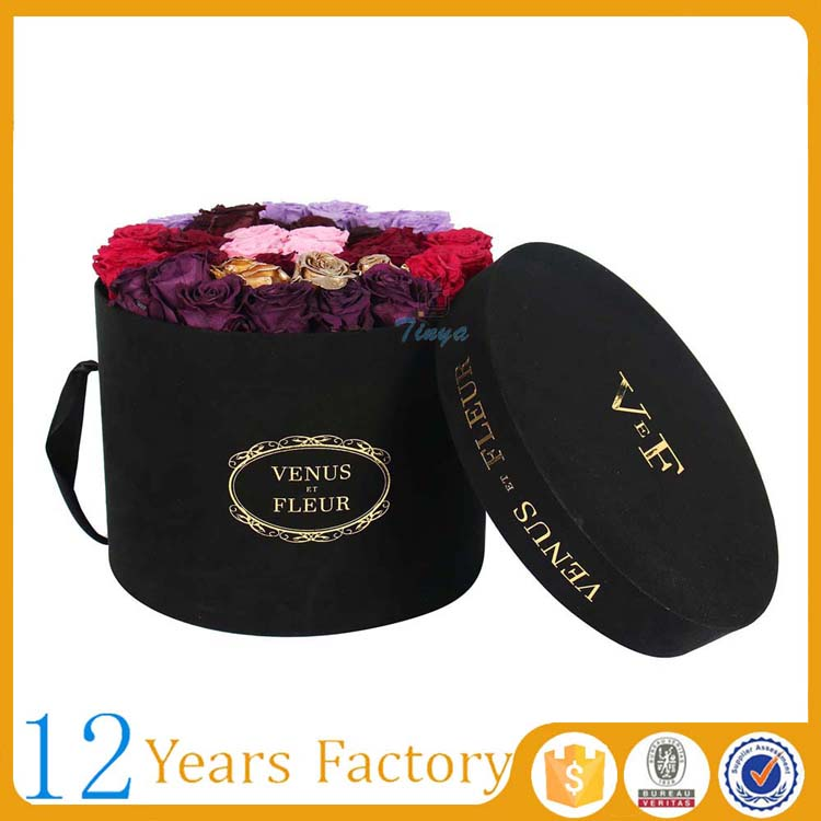 gift packaging black cardboard round cylinder paper box for flower