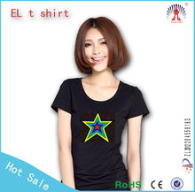 el sound sensor t-shirt/el lighting t shirt/custom led light t shirt