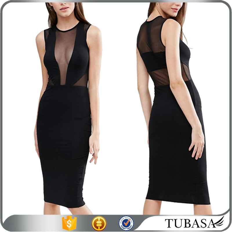 Deep V front evening see-through sexy dress for women party