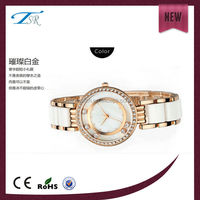 solid stainless steel and ceramic band,famous brand white ceramic waterproof watch for lady