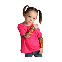 Kids Cotton Temporary Fake Baby Mesh Short Tatoo Sleeve T Shirt