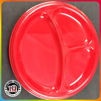 Disposable Red Round Three Compartments PS Plastic Plate