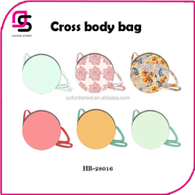 PU round cross body bag, newest trendy cross body bags,pattern shoulder bag