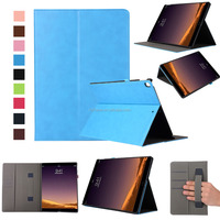 2017 New Smart Sleep Wake Up Flip PU Leather Case For iPad Pro 12.9 With Slot Cards wrist band Folding Stand Leather Tablet