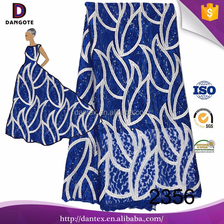 Guangzhou wholesale african beaded lace embroidery fabric cheap royal blue lace fabrics for garment