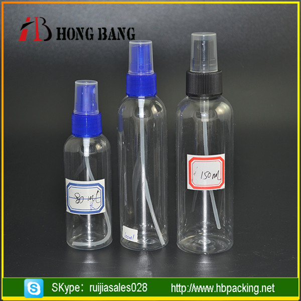 Wholesale round shoulder PET 50 ml 60ml 80ml 100ml plastic spray bottle