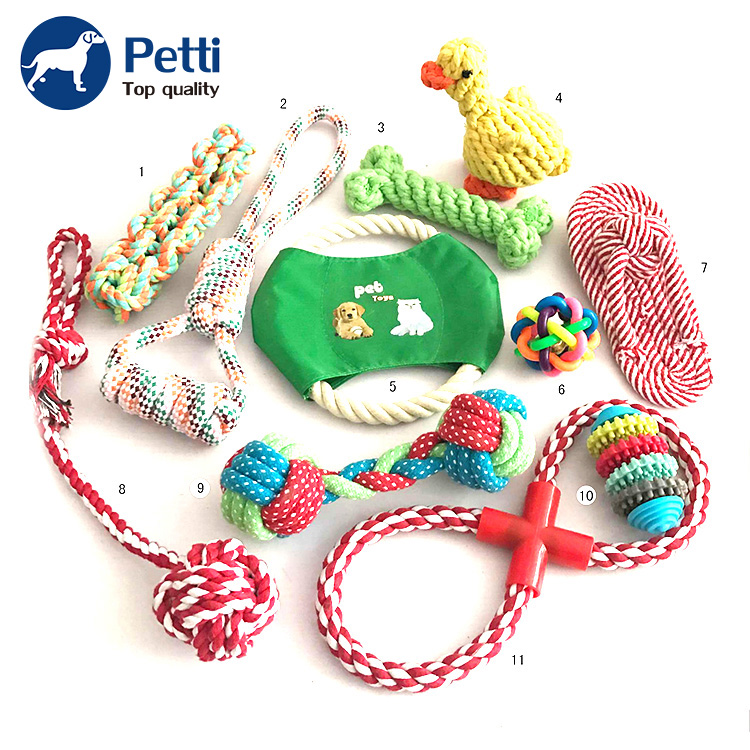 Factory Pet Products Supplier Elastic Fabric Custom Choice 10 Pack Rope Dog Toy Set
