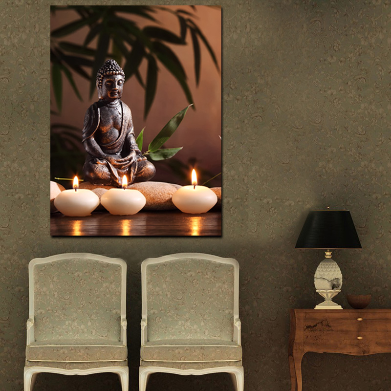 Buddha Candle Design LED Light Art Painting Custom HD Picture Print Stretched Canvas Painting