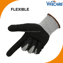 HPPE CE Level 5 Anti Proof Hand Protective Black Sandy Nitrile Coated Safety Work Cut Resistant Gloves