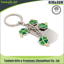 2017 New design Four Leaf Clover &Dog tag Keychain