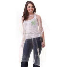 Ladies Clear Disposable Plastic Poncho Rain Coats