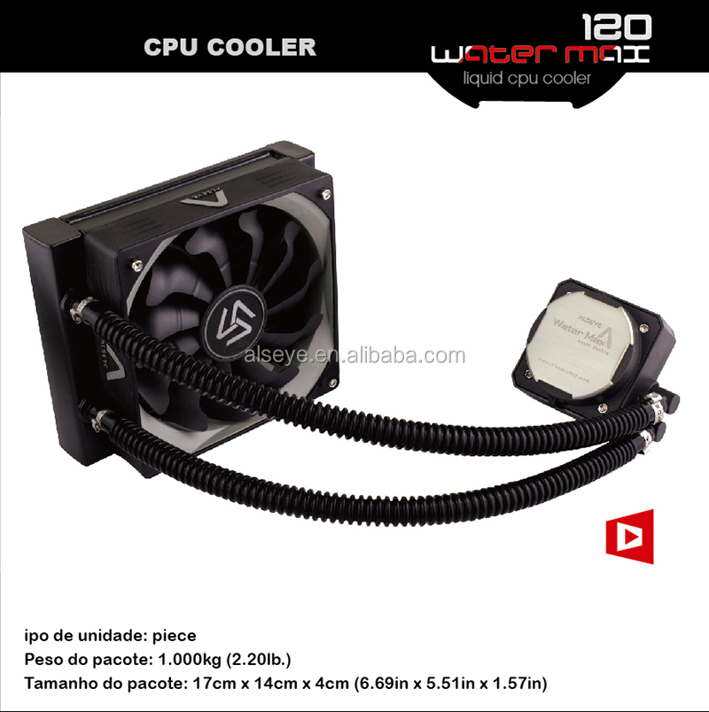 Alseye AA0112 manufacture liquid cooling radiator and fans 120mm water cooling block cpu