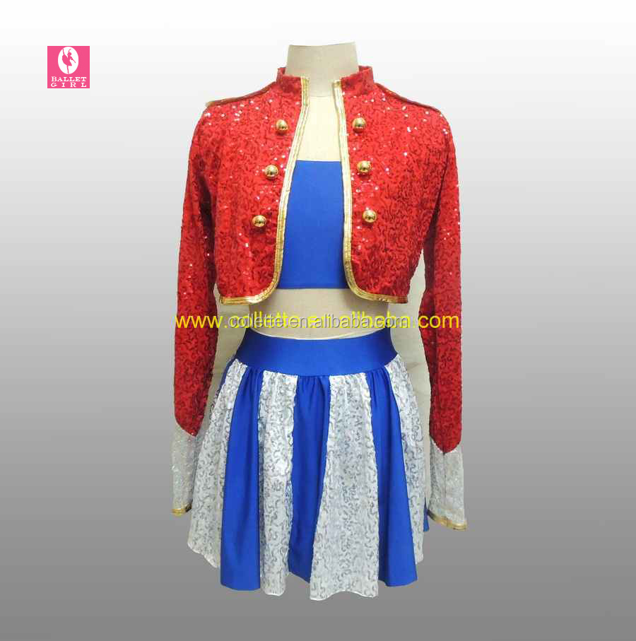 MBQ463 Girl's red sequin blue lycra top blue white sequin skirt dance cheerful costumes