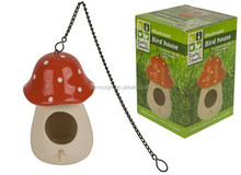 Personalized Ceramic Color Glazed Mushroom Bird House with Hanging Chain