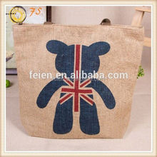2012 fashion foldable jute bag with oval bamboo ha