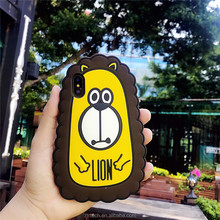 Case for iphone x 8 7 7plus soft silicon cartoon animal lion cat silicone protective phone case for iphone 6 6s 6plus