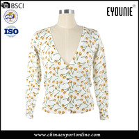 Spring New Fashion Bulk Wholesale Clothing 12 Gauge Viscose Printed Cardigan