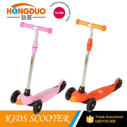 2016 new arrival 4 wheels folding kids kick scooter with optional handlebar