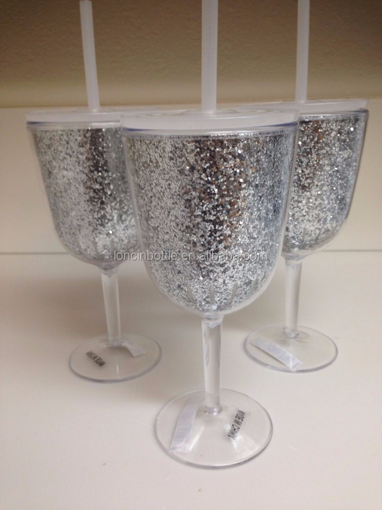 12oz Gold Glitter Wine Glass Acrylic Wine Sippy Cup With