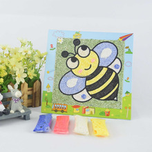 custom wholesale bee moving sand picture/transparent writing board/sand art paper for preschool children