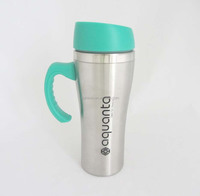 Double wall insulated stainless steel coffee travel mug with handle and lid