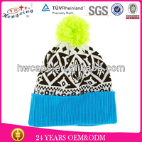 2013 Hot Sale Beanie New Style Fold up Knitted Hat Beanie Hats with Top Ball