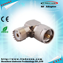 Right angle UHF PL259 male plug to UHF SO239 female RF adapter