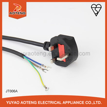 BS approved UK 3A 5A 10A 13A fuse 250V 3 pin plug with H0V5VV-F 3X0.75MM2 British standard cord