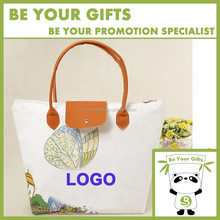 Promotional Custom Canvas Tote Bag with Leather Handle and Zipper closure
