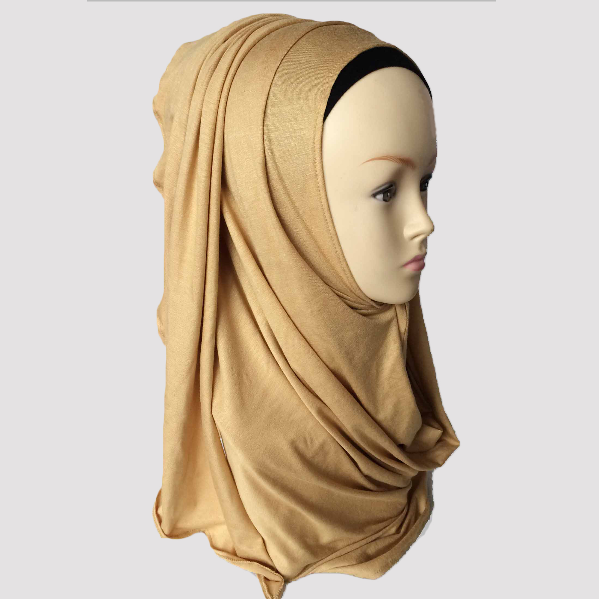 New design high quality plain color hijab big size long cover jersey shawls headscarf for ladies any seasons