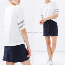 Woman shirt knit fabric with slip on design top tee white t-shirts with short sleeves in stripes tee shirt for women summer wear