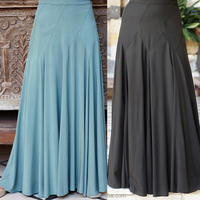Oem supplier traditional wear wider elastic waist swing style long skirt for muslim women