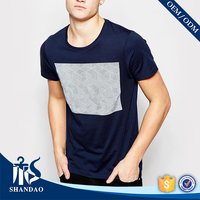 guangzhou shandao summer casual blue o-neck 180g 100% cotton wholesale custom screen printing t shirts clothing
