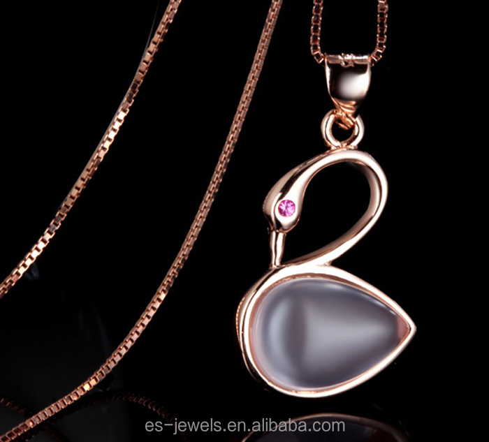Pure 925 Sterling Sliver Shinning Crystal Little Swan Pendant Necklace with Sliver Chains