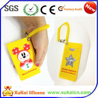 Hotsale cartoon silicone name card bag cover/holder