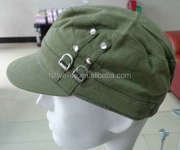 WLLS030329 100%Cotton plain green military jeep hats with silver studs