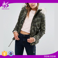 China Factory Shandao New Design Women Winter Casual Warm Fur Hood Long Camo Jacket