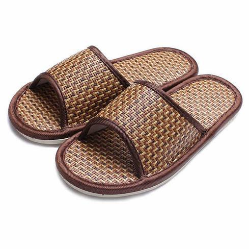 FREE SHIPPING Natural pantuflas rattan mats bamboo zapatillas de casa summer home slippers man/woman interior slippers s005